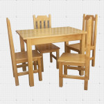 4 Person Pine Dining Set