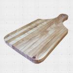 Rectangular cutting board with handle.